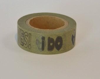 """Washi tape 10 m """"Yes I do"""" wedding - Washi tape vintage wedding"""