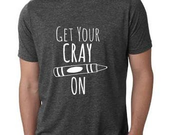 Get Your Crayon Men's T-Shirt, Men's Graphic T-Shirt, Shirts with Sayings, Charcoal Gray