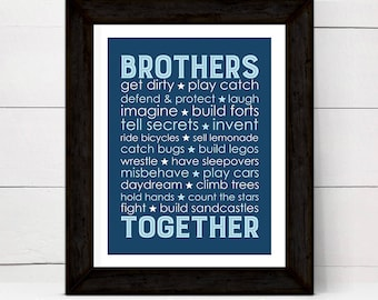Navy blue boys playroom decor - brothers together - brothers subway wall art - print or canvas - boys bathroom
