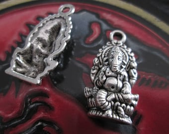 2 charms / metal Ganesh pendant silver 27 x 14 mm