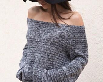 HANDMADE Gray Melange Asymmetrical Sweater/Knitwear Dress/Long Pullover/Loose Plus Size Sweater/ Off shoulder sweater/Knit Blouse/F1553