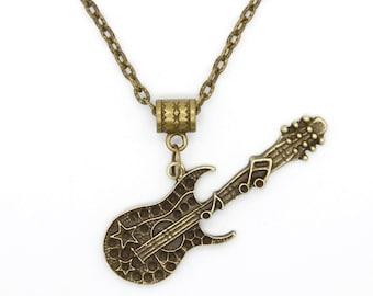 Sideways Fancy Electric Guitar Pendant on Bronze Chain Necklace