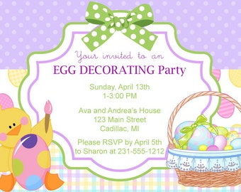 Egg Decorating Invitation, Egg Decorating Party Invitation, Kids Easter Party Printables