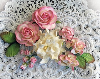 Reneabouquets Curly Roses & Gardenias Flower Set -Pink and White Mulberry Paper Flowers - Set Of 15 Pieces In Organza Storage Bag
