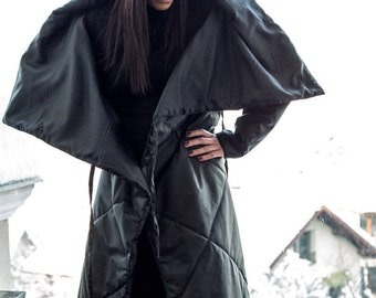 Maxi Coat, Plus Size Clothing, Women Coat, Extravagant Coat, Winter Coat, Long Coat, Black Coat, Asymmetrical Coat, Black Hooded Coat