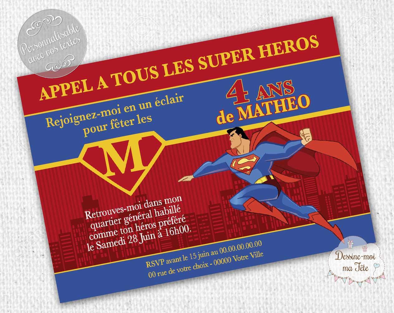 "Personalized ""Superman"" - printable personalized Invitation birthday invitation"
