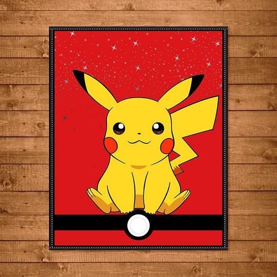 Pokemon Wall Art Red & White Pikachu Wall Art Pikachu 8x10
