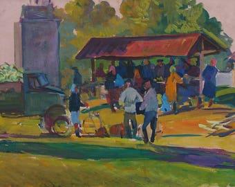 Rural market, the Soviet people,Socialist Realism,USSR,collective farm,kolkhoz,original oil painting,Usikova E. 50-80 km. 70е 0,2