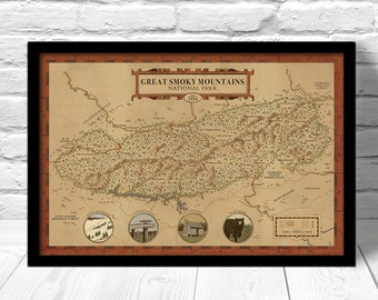 Great Smoky Mountains Map, see America map, National park map, Clingmans Dome poster