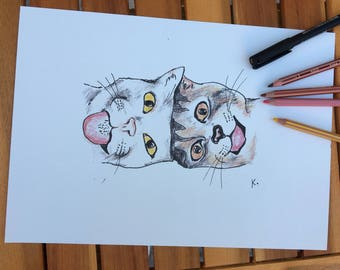 Christmas gift - Crazy cats - Reproduction of an original drawing. Crazy Cats