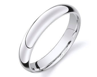 14k White Gold Band (4mm) / PLAIN / Polished Rounded Dome + Comfort Fit / Men's Women's Wedding Ring