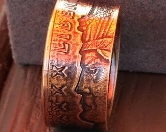 Liberty Indian Chief coin ring