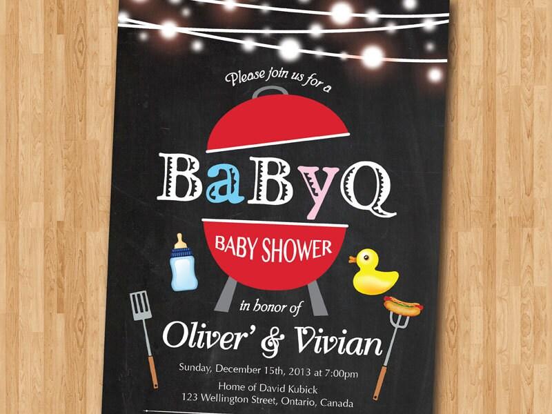 BBQ Baby Shower Invitation. BabyQ Shower Invitation.