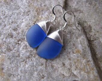 dark blue sapphire earrings