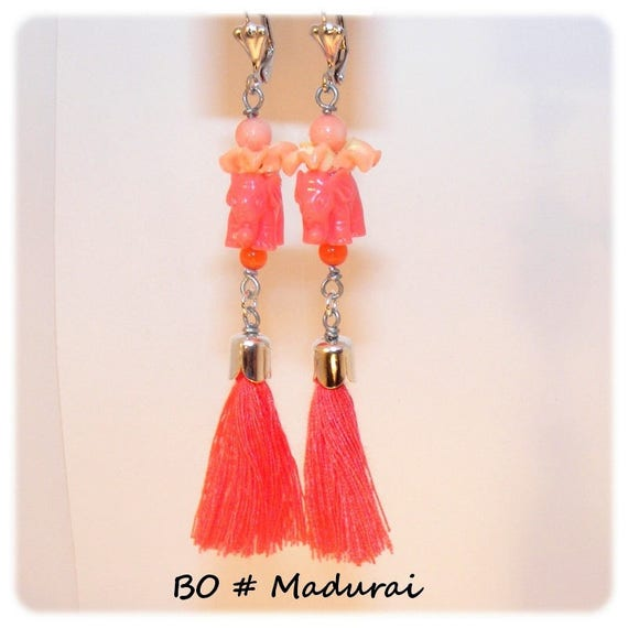 Earrings dangling # elephant and tassel # unique designer # gift # coral jewelry