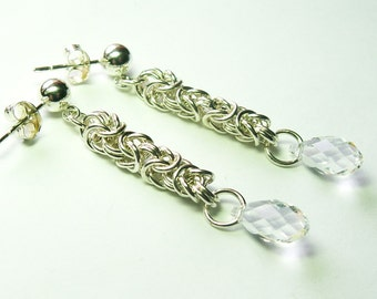 Sterling Silver Byzantine Chainmaille with Clear Swarovski Crystal Drop Earrings