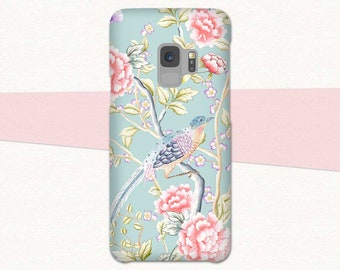 Floral Galaxy S9 Case, Samsung Galaxy S9 Plus Case, Bird S9 Phone Case, Pink Flowers, Pretty Galaxy S9, Case for S9, Galaxy S8, Note 8, S7