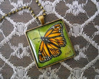 Monarch Butterfly Pendant with Chain Hand painted watercolor & ink original art pendant necklace symbol of change rebirth monarch migration