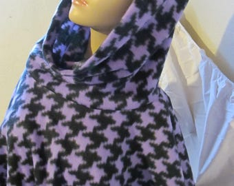 Sale - Multiple Colors Available - Houndstooth Fleece Cowl Neck Poncho, Scoodie Poncho, Hooded Poncho, Cowl Neck Poncho, Winter Poncho