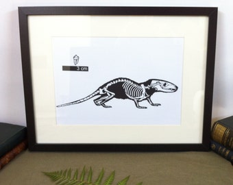 Art - Morganucodon paleontology - Silhouette carved in 150 g/m2 - Papercut Paleontology Morganucodon black canson paper