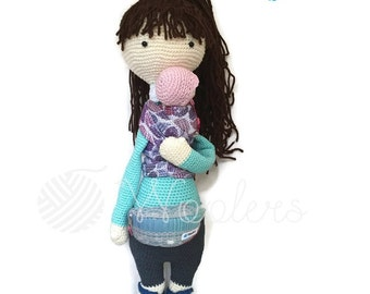 Babywearing Mum / Crochet Doll / Handmade Amigurumi / Amigurumi animal/doll