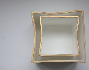 Pure white cube set made from fine bone china and real gold mat rims - geometric decor