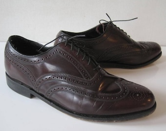 Vintage FLORSHEIM IMPERIAL Shoes Sz 10 Mens Oxfords Leather Wingtip Formal Burgundy XX959