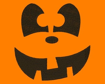 Happy Jack O Lantern Pumpkin Face I Halloween Embroidery Designs 4X4 and 5X7 Included - Instant Download Sale