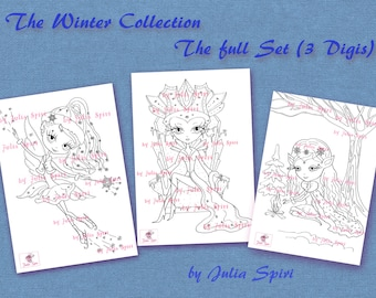 Set of 3 Digital Stamps, Coloring pages, Winter stamps, Winter Elf, Snow Queen, Snow fairy, Fantasy. The Winter Collection