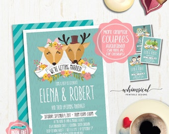 "Wedding Shower Invitation ""Animal Couples"" (Printable File Only) Bridal Shower Invite, Couple's Shower, Animal Bride Groom, Animal Avatars"