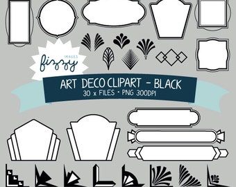 PNG: 30 x Art Deco 1920s 1930s Black and White Clipart - Digital files PNG 300dpi with Instant Download. CA0051