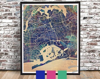 vintage queens street map nyc streetmap queens map ny street art big