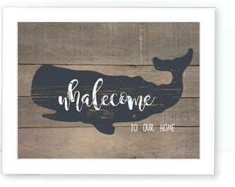 Beach Decor, Whale Art, Whale Print, Whalecome Sign, Home Decor, Wall Art, Printable Art, Instant Download, Whales, Welcome Sign