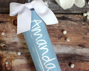 20oz SKY BLUE Powder Coated Tall Skinny Stainless Steel Custom Tumbler with Ribbon and Straw/Sip Lid