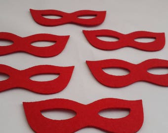 Felt crafts wool felt Felt mask Shaped Glasses for craft embellishment perfect shape thick mask for use any crafting projects red 10PC