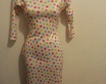 colored polka dots bodycon dress