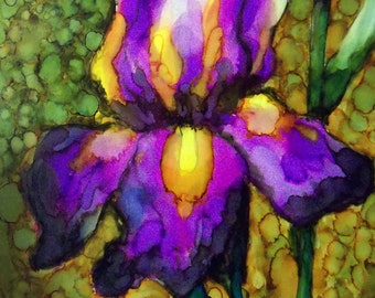 original art  painting alcohol ink iris floral colorful wall decor 20x24 framed