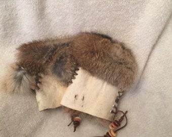 Children's genuine rabbit fur fingerless gloves