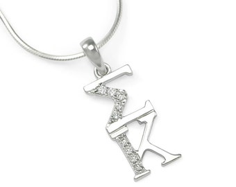 Sigma Kappa Sterling Silver Lavaliere with Simulated Diamonds // ΣΚ Sorority Jewelry // Sorority Gifts // Initiation Gifts // Big & Little