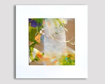 Originele abstract schilderij op papier, abstracte kunst, originele kunst, kleine acryl illustraties met passe-partout, witte olijf geel-groen, gematteerd