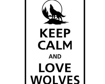 Keep Calm and LOVE WOLVES Animal Wolf Vinyl Wall Decal KC-111