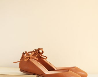 Cognac Brown Ballet Flats with Leather Ankle Ribbons | Pointe Style Shoes | Classic Model | Standard Width | Cognac Brown | Ready to Ship