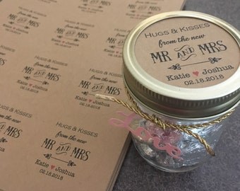 """INSTANT PRINTABLE 2.5"""" Hugs and kisses tags Hugs and kisses from mr and mrs Wedding favor tags Wedding tags Mason Jar tags custom thank you"""