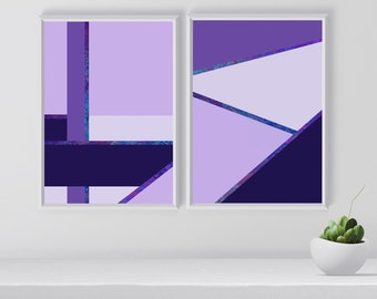 Ultraviolet Geometrical Print Set Set of 2 Prints Wall Art Pair Wall Art Set Purple Wall Decor Ultraviolet Print Poster Set Printable & Purple wall decor | Etsy