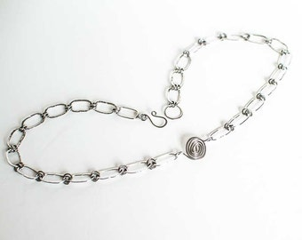 """Celtic Spiral Necklace Stainless Steel 20"""" Necklace Mens Textured Chain Necklace"""