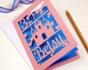 Personalised Papercut Princess Castle Birthday Card, sku_princess_castle