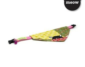 GOOOD Cat Collar   Center Scarf - Summer Kitty   100% Rainbow Floral Fabric   Safety Breakaway Buckle