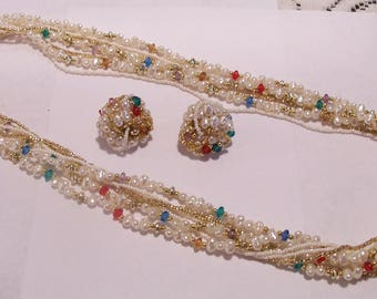 Beautiful Decorative Beaded Necklace and Pierced Earring Set