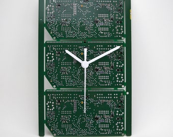 Clock printed circuit board green and silver (PCB printed circuit boards, Computeric Geek, Steampunk Technology).