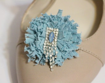 Shoes clips - blue puff pompom with dangling crystal center